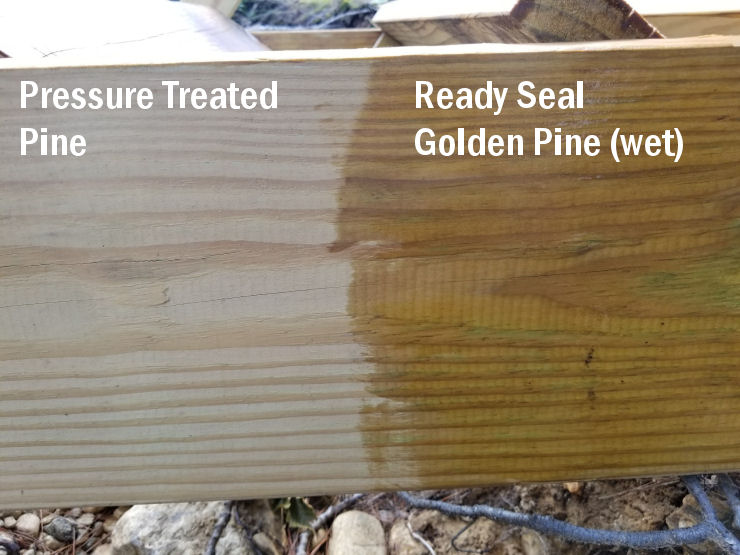Deck stain of pressure treated wood, color comparison